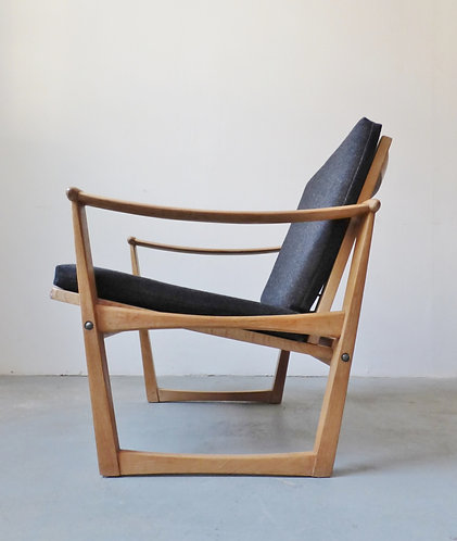 1950s Danish oak lounge chair by M. Nissen