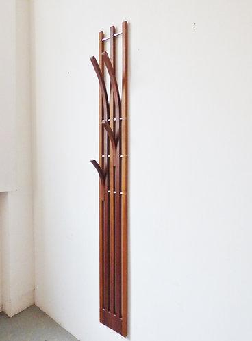 Mid-century Danish teak hall stand / wallmounted coat rack