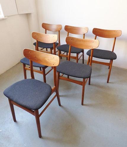 Set of 6 Danish teak and oak dining chairs