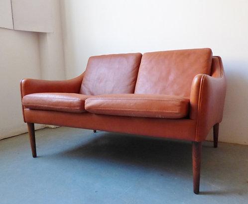 Mid-century Danish tan leather sofa by Hans Olsen
