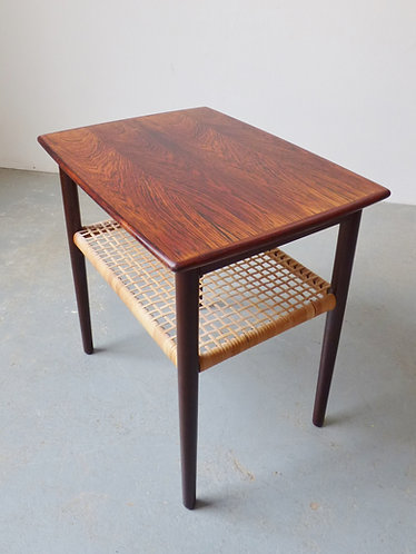 1950s Danish rosewood side table with magazine shelf