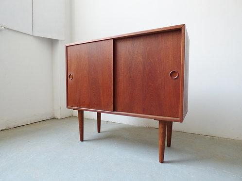Small Danish teak sideboard with sliding doors - 1960s