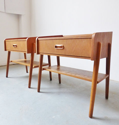 Pair of Danish mid-century bedside tables