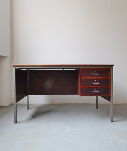 1960s Danish industrial teak and metal desk