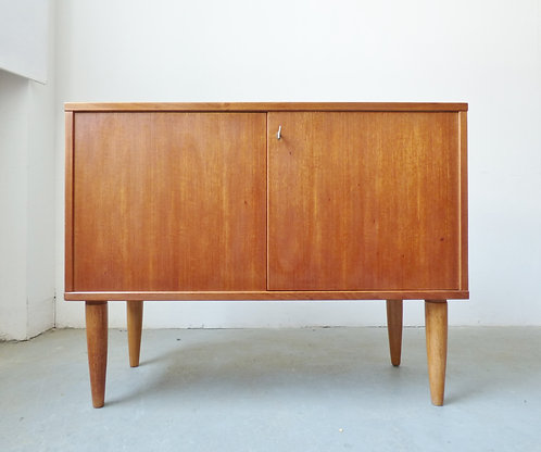 Small teak sideboard with oak legs - 1960s