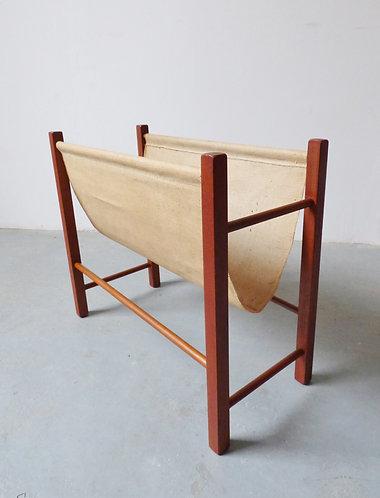 1960s Danish teak magazine rack with canvas sling