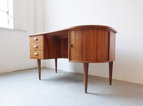 1950s Danish walnut desk with tambour door