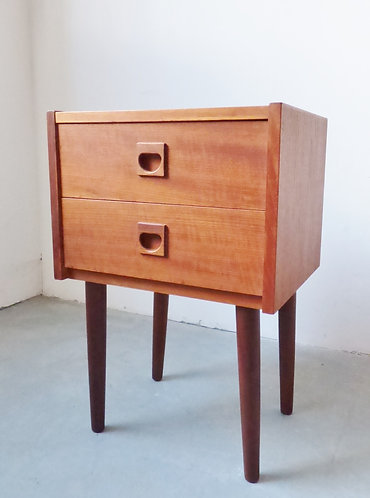 1960s Danish teak bedside table with drawers