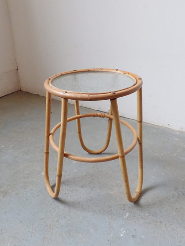 Vintage bamboo and glass plant stand
