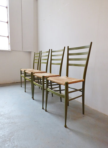 Mid-century Italian dining chairs in style of Gio Ponti