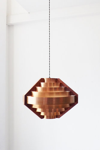 Mid-century Danish copper and teak pendant lamp