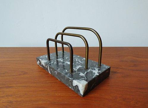 Vintage black marble and brass letter rack
