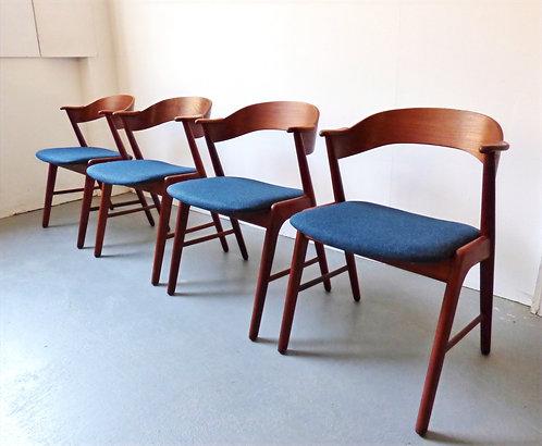 Set of 4 mid-century Danish dining chairs by Korup Stolefabrik