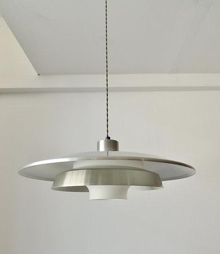 1950s Danish aluminium and glass pendant lamp