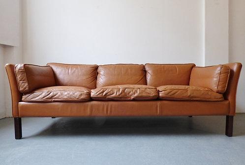 Danish tan leather sofa