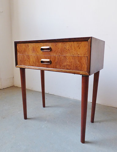 Small Danish rosewood bedside chest of drawers