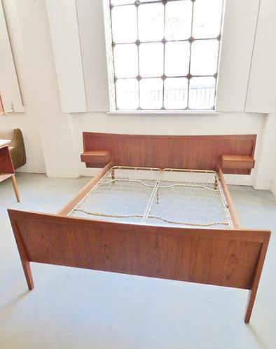 1960s Danish teak double bed