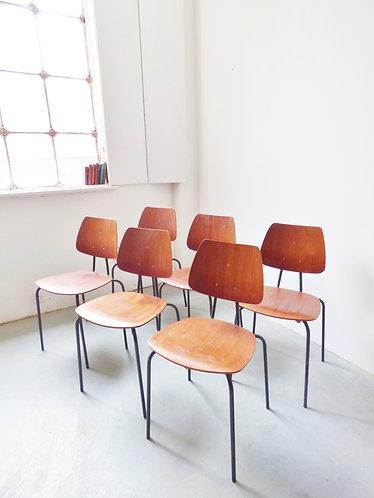 Set of 6 Danish teak stacking chairs