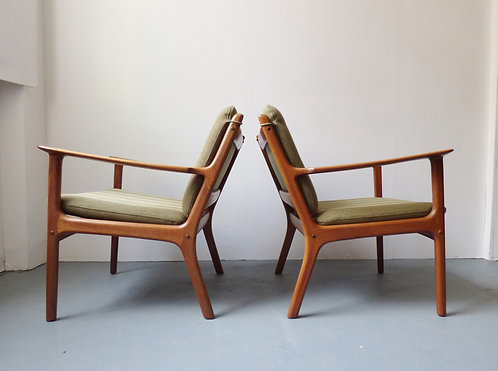 Mid-century Danish lounge chairs model PJ112 by Ole Wanscher
