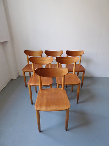Vintage Danish school chairs, set of 6