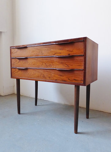 Small Danish rosewood hall chest of 3 drawers