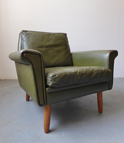 1960s Danish green leather armchair