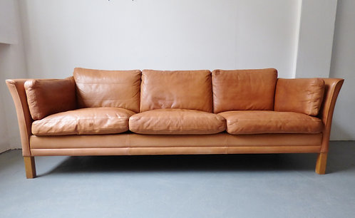Danish tan leather sofa