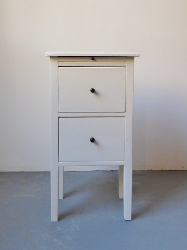 Vintage white bedside table with two drawers