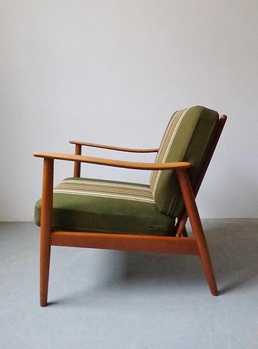 Mid-century Danish beech and elm lounge chair
