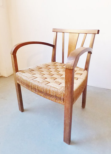 1930s Danish armchair with woven seat
