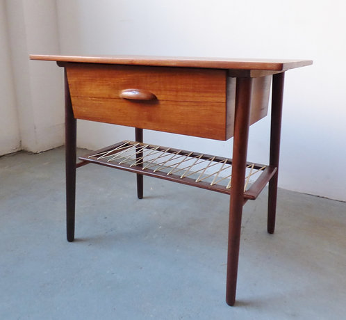 Mid-century Danish teak sewing / bedside table