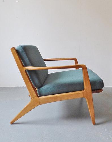 1950s Danish beech lounge chair