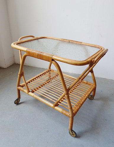 Vintage bamboo drinks trolley with glass top