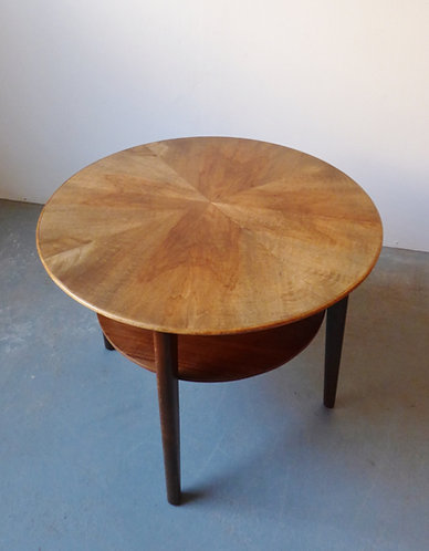 Round walnut coffee table