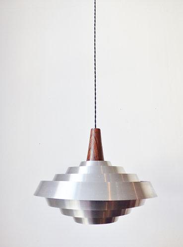 1960s Scandinavian aluminium and rosewood lamp