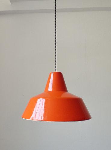 1960s orange Louis Poulsen enamel pendant lamp