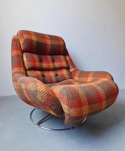 1970s Danish check wool swivel chair