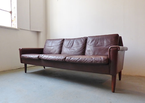 1960s Danish brown leather 3 seater sofa with rosewood legs