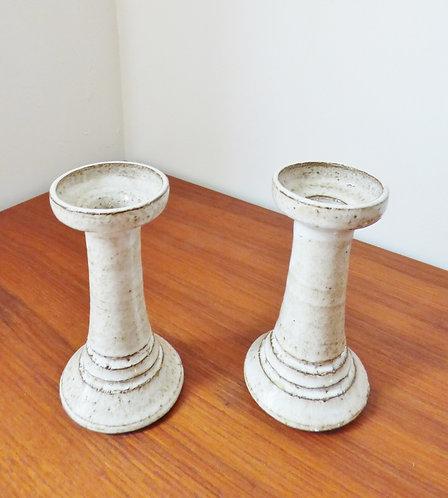 1970s Danish ceramic candle sticks