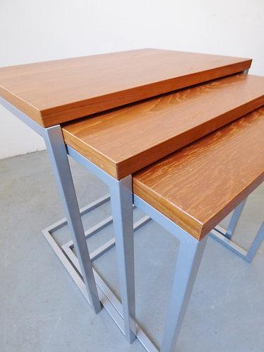 1960s Danish teak and metal nest of tables