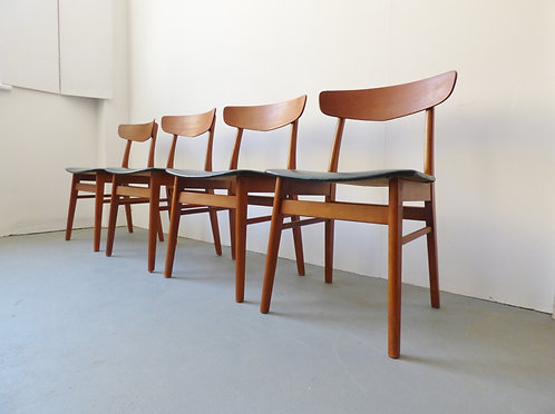 1960s Danish teak and beech dining chairs - set of 4