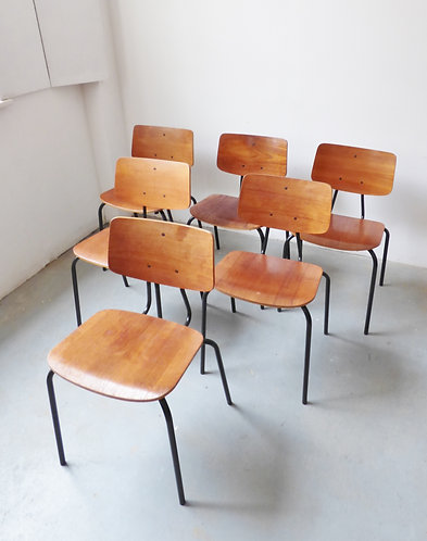 1960s Danish teak and metal stacking chairs by DUBA