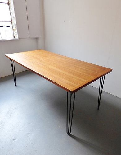 Large Danish dining table with hairpin legs