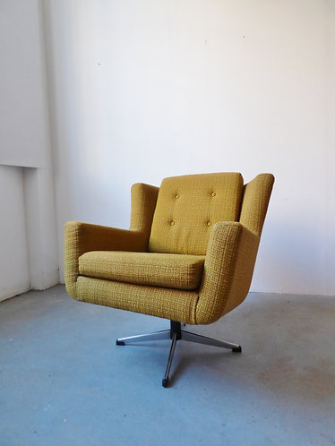 1970s Danish yellow / green wool swivel chair