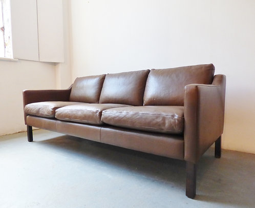 Vintage Danish brown leather sofa