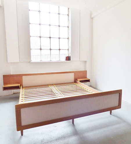 1960s Danish oak double / king size bed