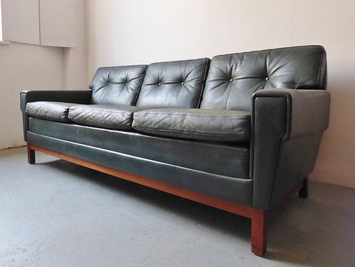 Vintage green leather 3 seater sofa with rosewood frame