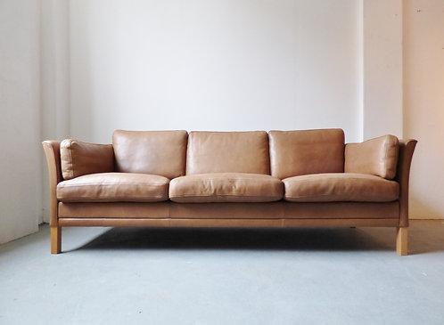 Vintage Danish tan leather 3 seater sofa