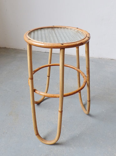 Small 1970s bamboo and glass plant stand