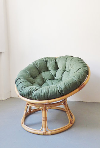 Bamboo Papasan chair with velvet corduroy cushion